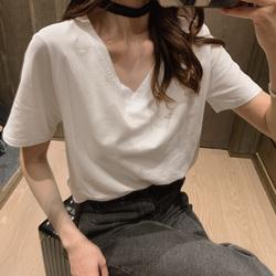 白色T恤女短袖宽松V领2020新款潮女装纯白色鸡心领夏装纯棉上衣丅