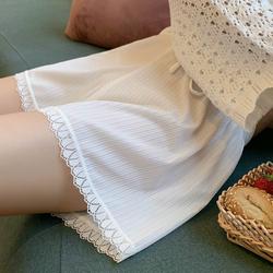 宽松安全裤女防走光可外穿薄款打底裤短裤显瘦白色蕾丝夏季不卷边