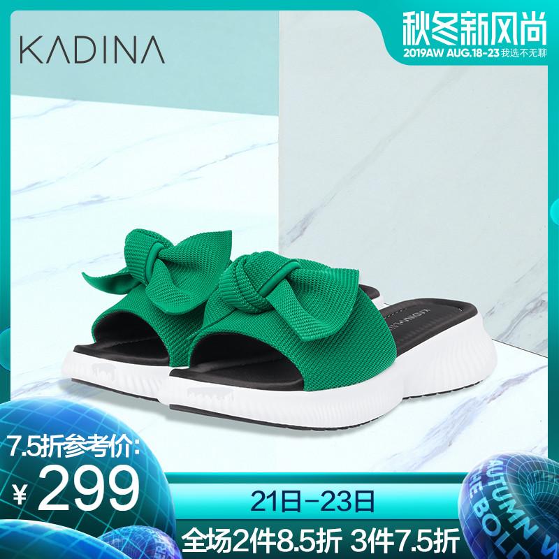 卡迪娜2019夏季新款蝴蝶结松糕底凉鞋拖鞋女KLM91901