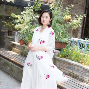 新品春夏百搭韩版雪纺绣花丝巾长款玫瑰花朵刺绣围巾空调披肩纱巾
