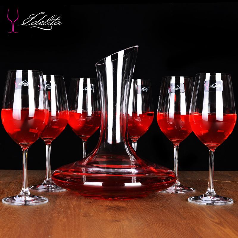 之選 EDELITA無鉛水晶紅酒杯套裝高腳葡萄酒杯醒酒器杯架