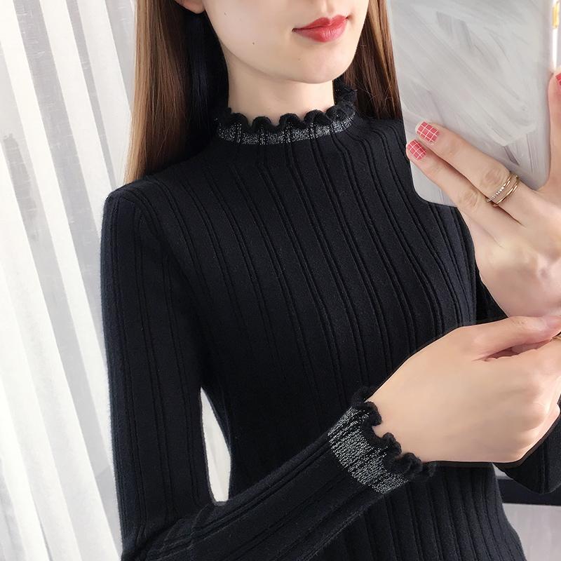 黑色打底衫女2020新款洋气针织衫亮丝上衣修身紧身秋冬半高领毛衣