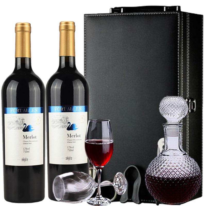 12度艾伦堡天鹅干红葡萄酒红酒礼盒酒具二选一 享醒酒器高脚杯