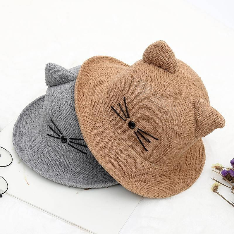 Cat ear small tail lovely basin cap parent child Hat New Korean version spring and summer fishermans hat sunscreen