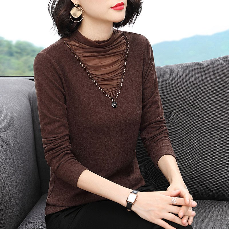 2020 new bottoming blouse womens half high collar with foreign double cashmere mothers top long sleeve T-shirt trend