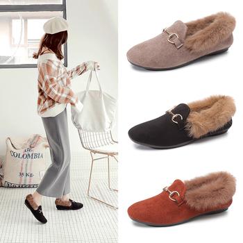 毛毛鞋豆豆鞋保暖棉鞋复古一脚蹬懒人鞋驾车鞋舒适休闲鞋女鞋