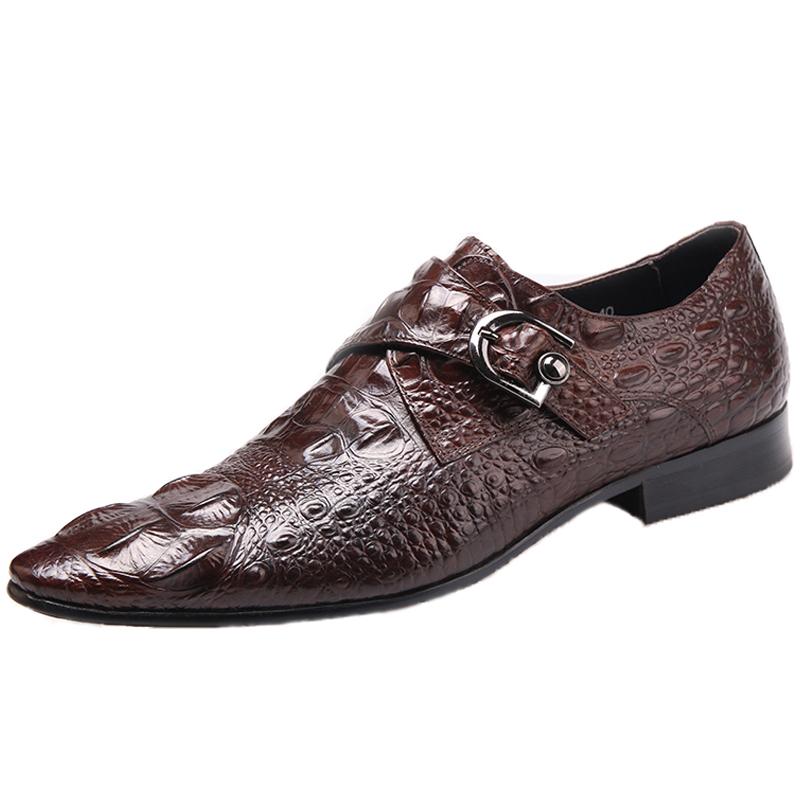 新款英伦正装真皮透气潮流鳄鱼纹搭扣商务休闲韩版男士尖头皮鞋子