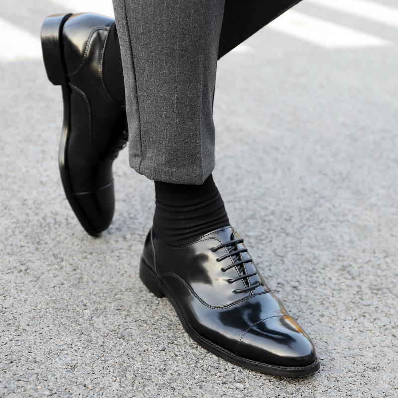 三接头皮鞋男亮漆皮商务正装牛津鞋男新郎真皮韩版结婚男士手工鞋