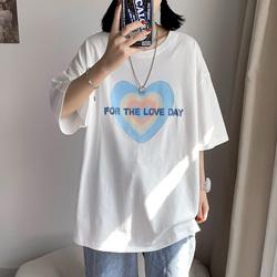 DX1031`大码中性风情侣宽松字母爱心印花T恤男女P25控价38白色
