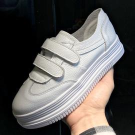 真皮厚底小白鞋女2020春新款韩版学生单鞋松糕魔术贴休闲乐福鞋潮图片
