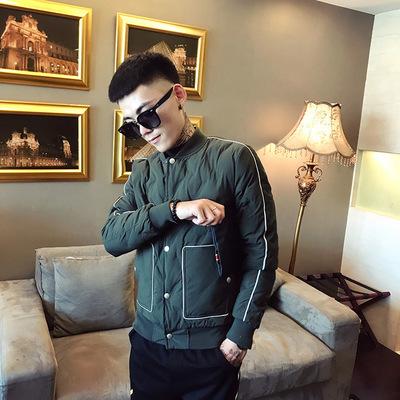 1395-P145 冬季新款立领棉服休闲外套青少年冬装男外穿上衣 绿
