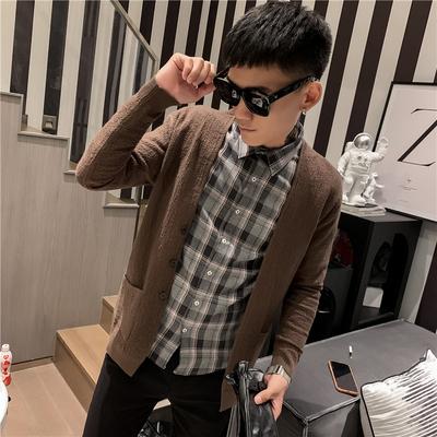KS122-P68 发型师男针织毛衣开衫外套潮男新款披风 咖 控88