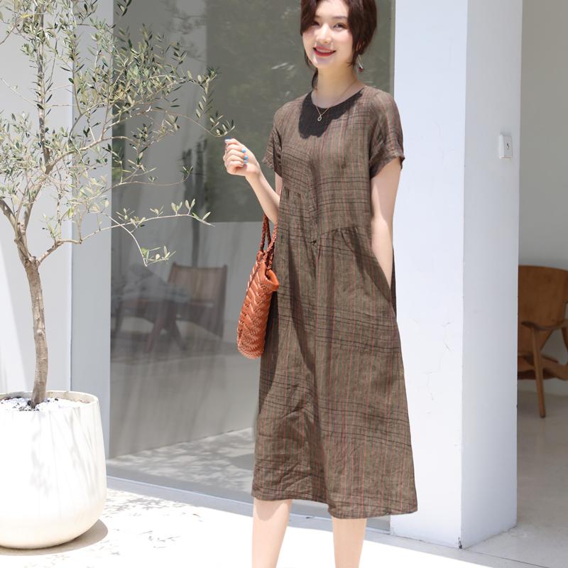 纯亚麻连衣裙2020新款女装韩版宽松遮肚大码气质格子棉麻连衣裙女