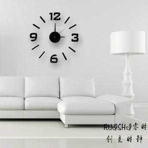 红色心形DIY粘贴时钟 个性静音客厅钟表现代墙钟创意婚房艺术挂钟