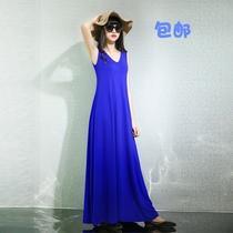 薄款孕妇长裙连衣裙夏装夏款裙子V领背心裙吊带打底欧美新款2020
