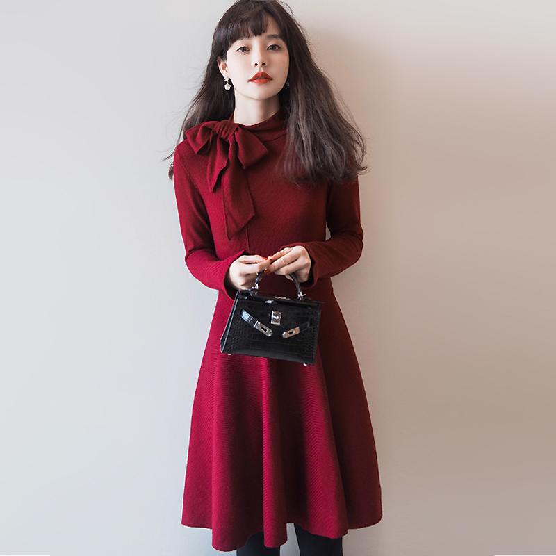 限2000张券一条用心定制的精品裙装。。。。 飘带款修身羊毛针织连衣裙