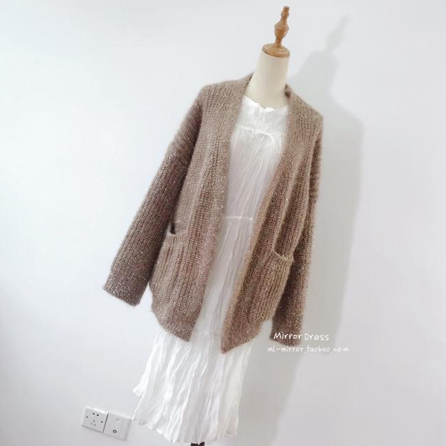 【现货闪发/仅限一天】中长亮丝开衫慵懒风针织chic毛衣外套#3