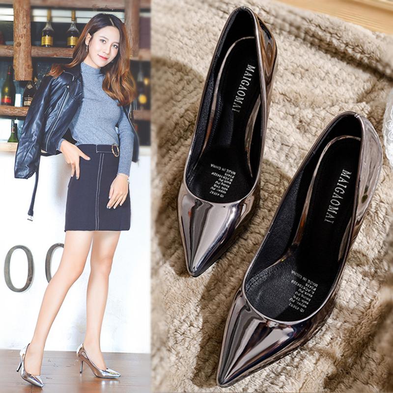 法式少女7cm银色年会高跟鞋女2020新款浅口5cm尖头细跟伴娘鞋网红图片