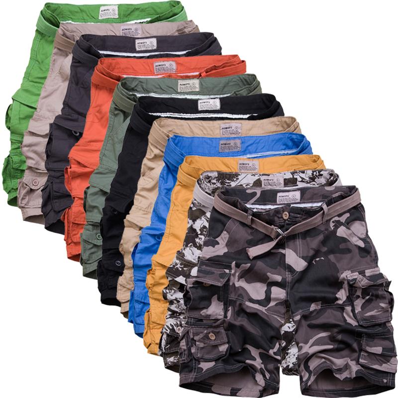 2018男士多口袋宽松五分裤旅游沙滩裤纯棉 含腰带1800-DK001 P65