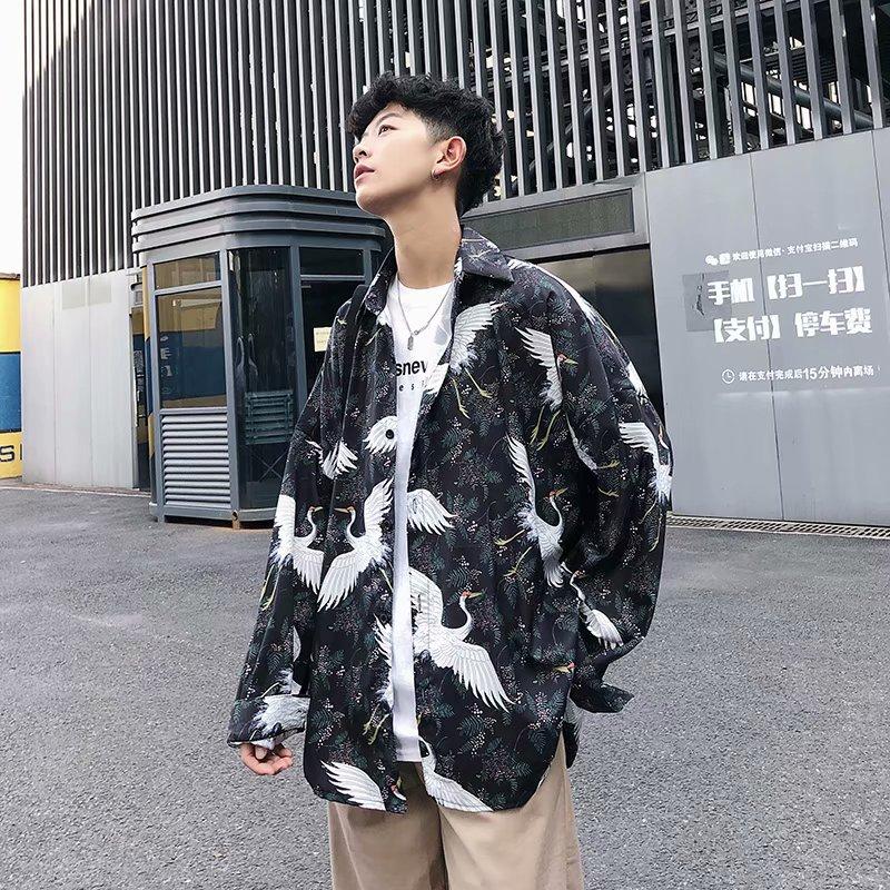 日系复古仙鹤道袍男中国风浮世绘宽松长袖衬衫外套男夏季潮牌ins券后39.80元