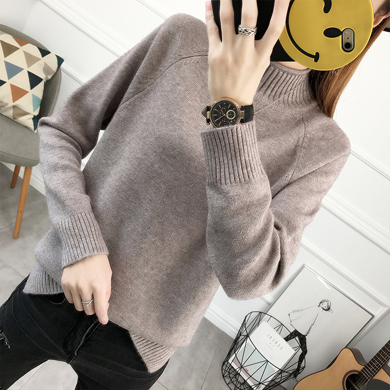 Autumn and winter new Korean loose half high collar sweater for womens foreign style thickened Plush long sleeve Pullover bottoming sweater for women