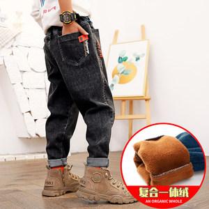 儿童裤子男童秋装加绒加厚牛仔裤