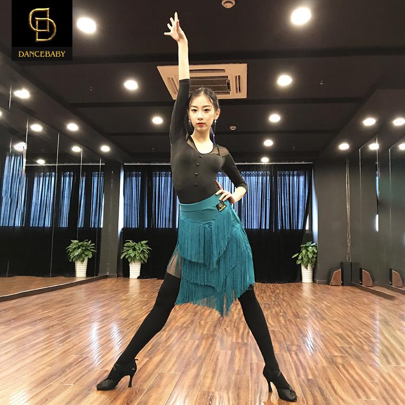 Dancebaby Латинский танцевальный костюм для взрослых новая коллекция Латинская танцевальная танцевальная юбка с бахромой Короткие юбки542