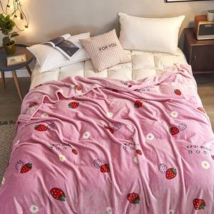 法兰绒毯子办公室午睡空调小被子毛巾薄款床单加厚冬季珊瑚绒毛毯