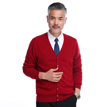Red V-collar cashmere cardigan, pure cashmere knitted sweater, cashmere sweater, overcoat and trendy men's wear