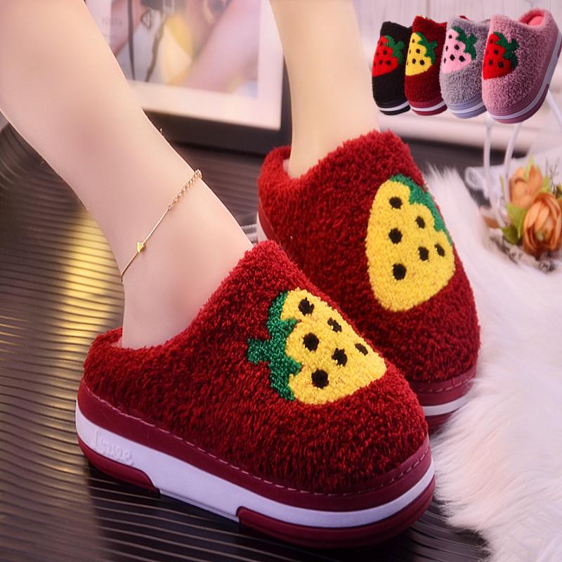 新款秋冬季女士时尚卡通坡跟厚底棉拖鞋保暖棉鞋居家加厚防水拖鞋
