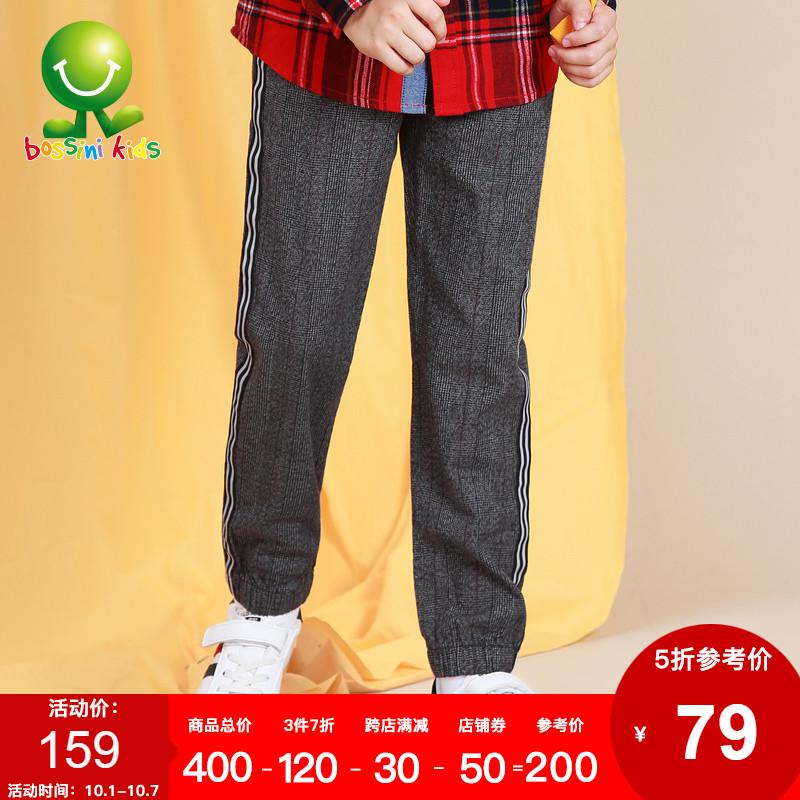 堡狮龙童装新款格子休闲男童裤子