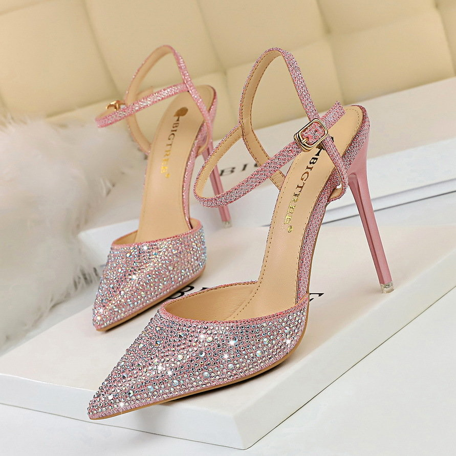 86-23 Korean fashion banquet high heel thin heel shallow mouth pointed hollow out color diamond shiny diamond one line sandals