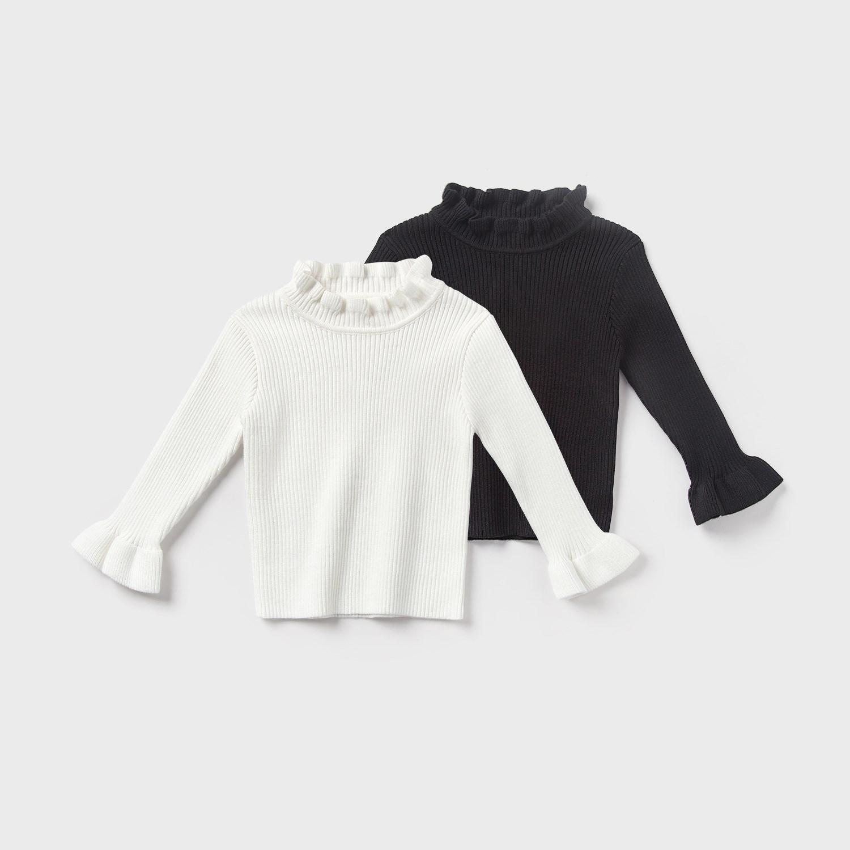女童针织打底衫春装2020新款儿童宝宝纯色毛衣洋气长袖木耳领套头