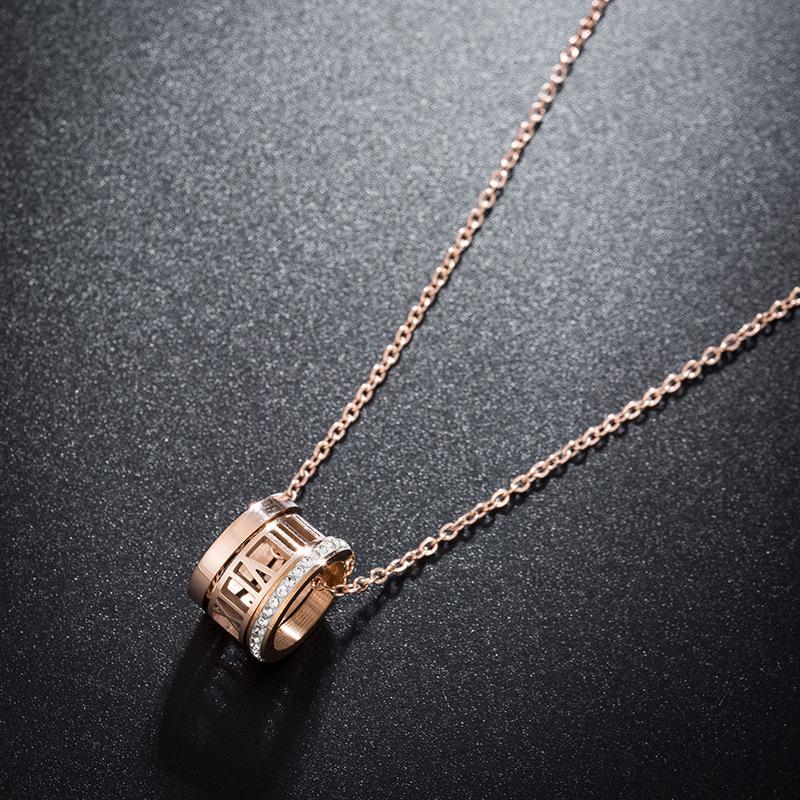 钛钢时尚三环镶钻罗马数字镂空项链气质饰品锁骨链流行新款颈链女