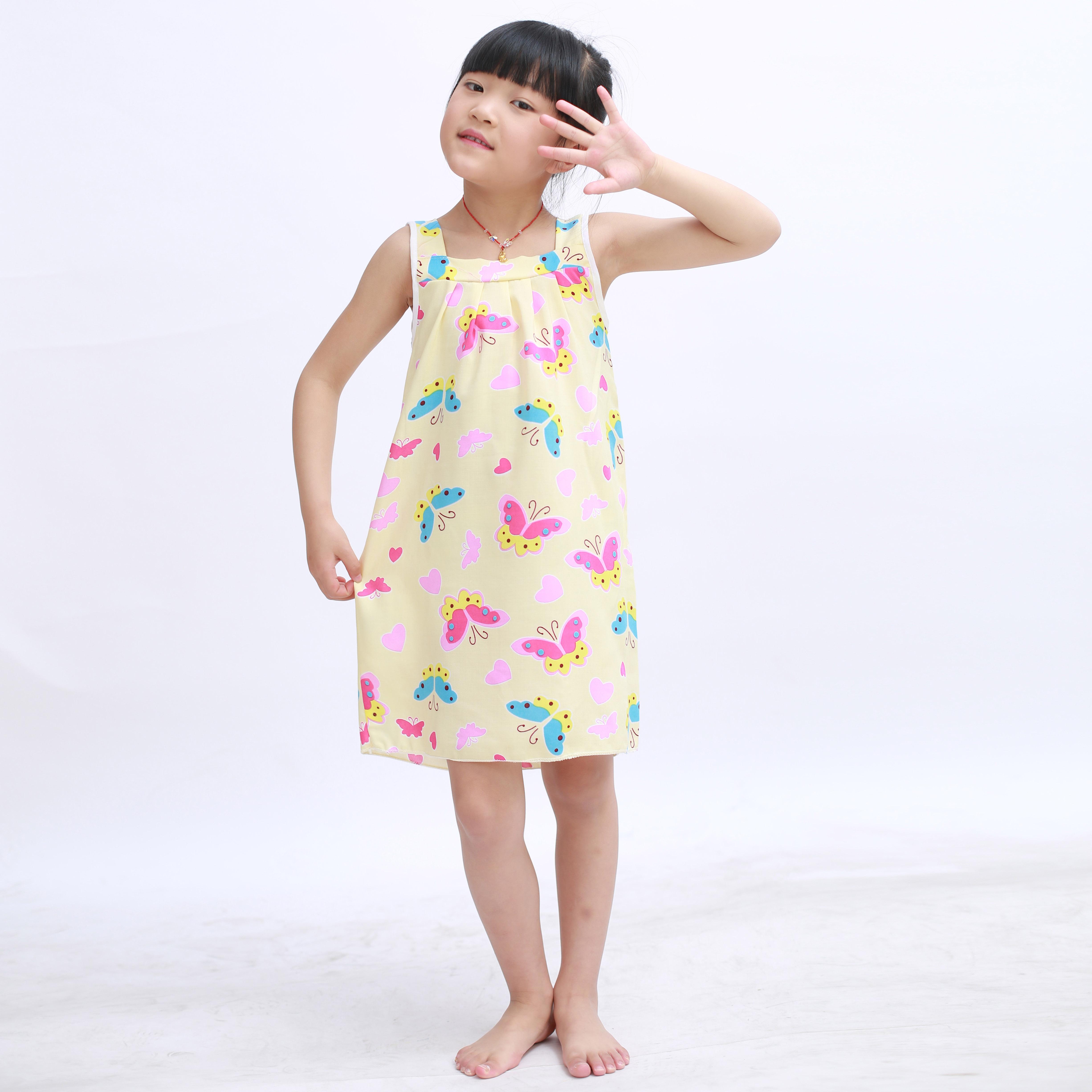儿童睡裙棉绸夏季薄款吊袋女童公主纯绵绸连衣裙睡衣中大童家居服