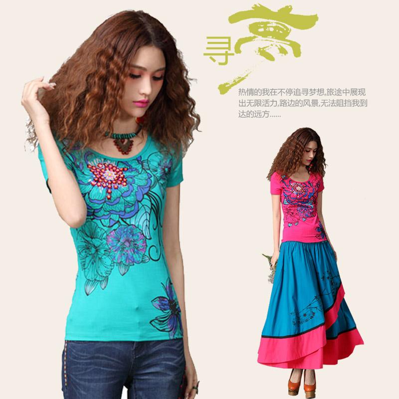2018春夏民族风女装3D印花钉珠短袖T恤 中国风修身打底衫大码上衣