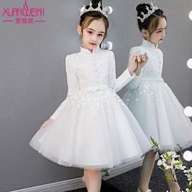 女童礼服公主裙秋冬加绒加厚童装小女孩连衣裙花童演出服儿童裙子