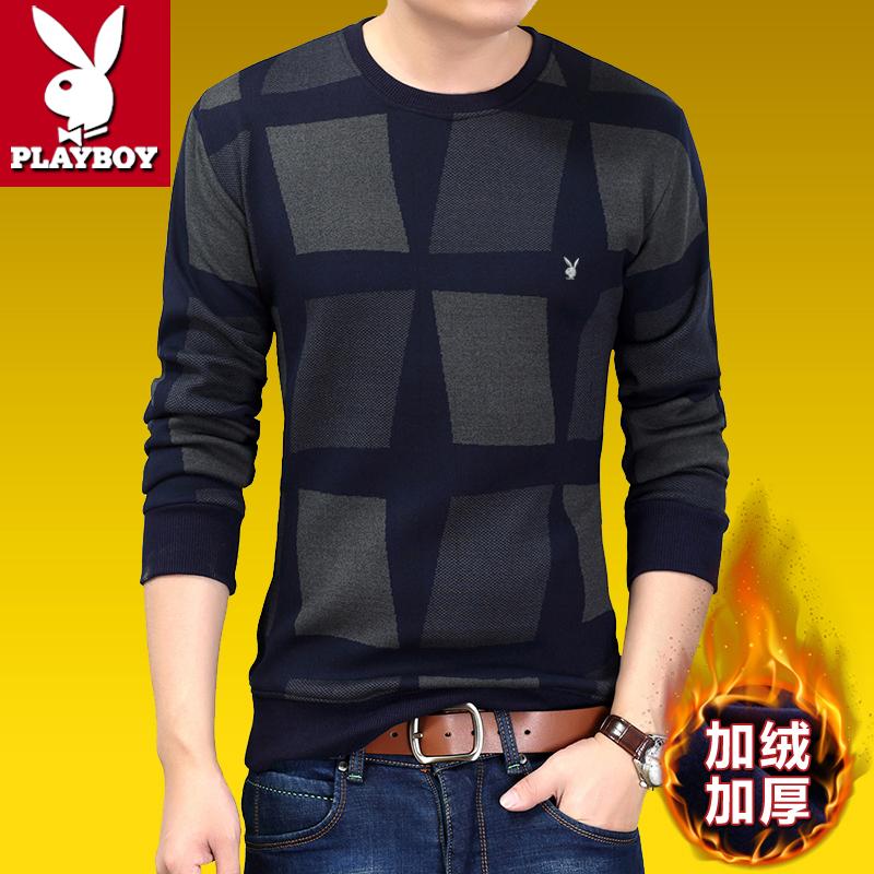 花花公子男装冬季中青年长袖T恤男加绒加厚圆领打底衫棉保暖卫衣