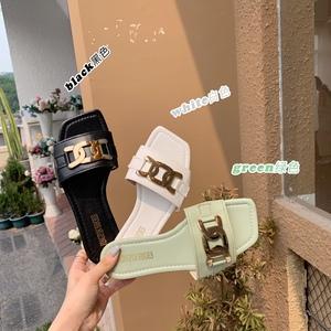 X-25502# 防滑平底一字拖鞋女金属扣夏季新款时尚百搭休闲 鞋子批发女鞋直播货源