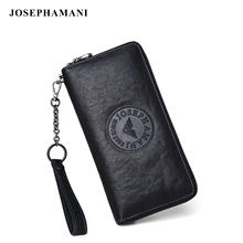 Zhuofen Armani men's wallet men's leather long zipper handbag youth leisure handbag men's leather bag