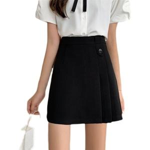 大码不规则半身裙女夏季薄款韩版百搭高腰a字裙褶皱包臀裙学生裙