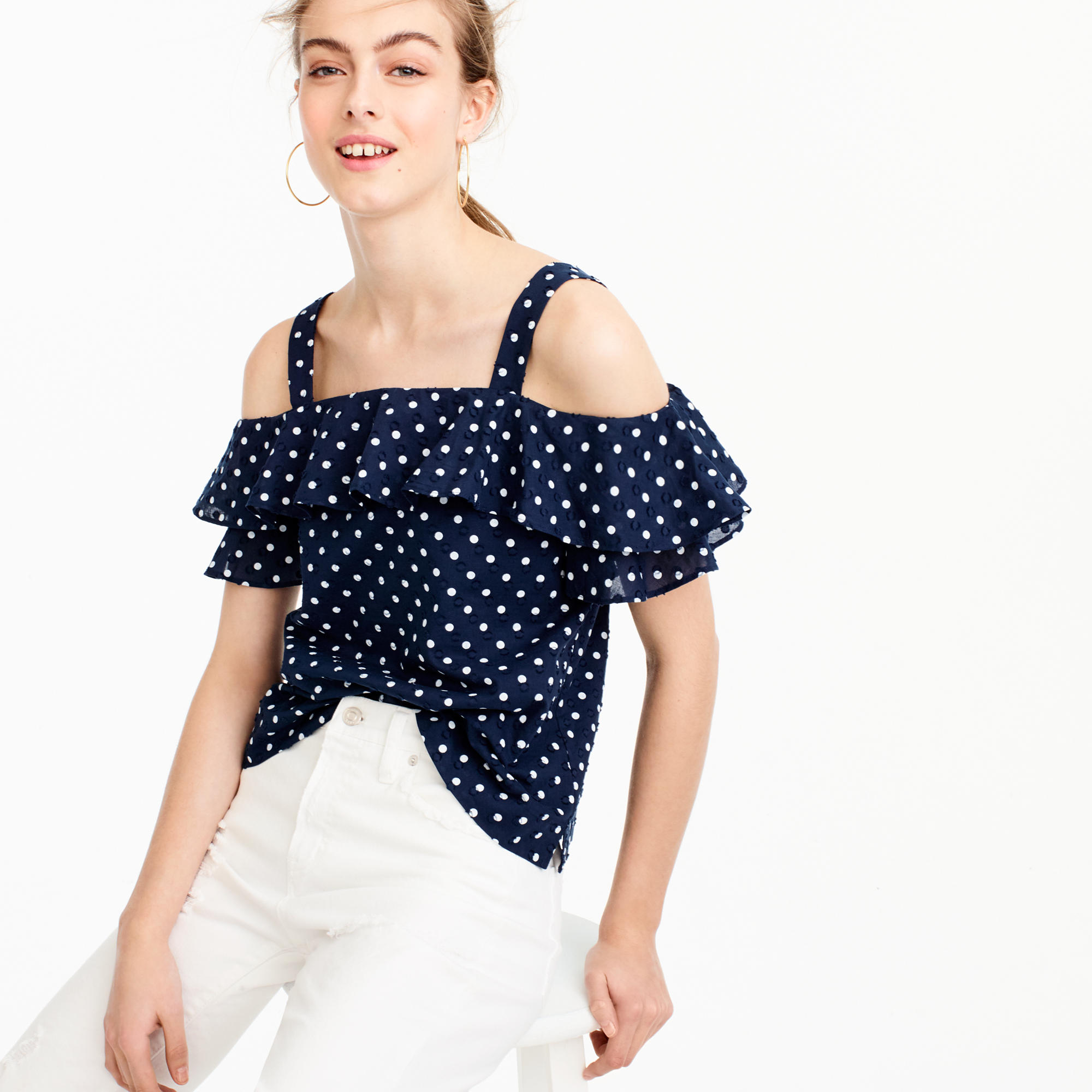 美国代购 j*crew 波点露肩上衣 Polka-dot cold-shoulder top
