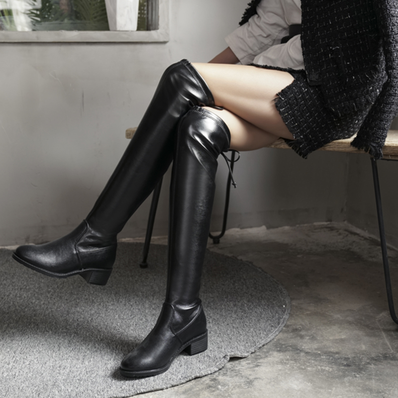 Other / other 2019 new plush leather over knee boots womens winter flat bottom elastic versatile black high boots