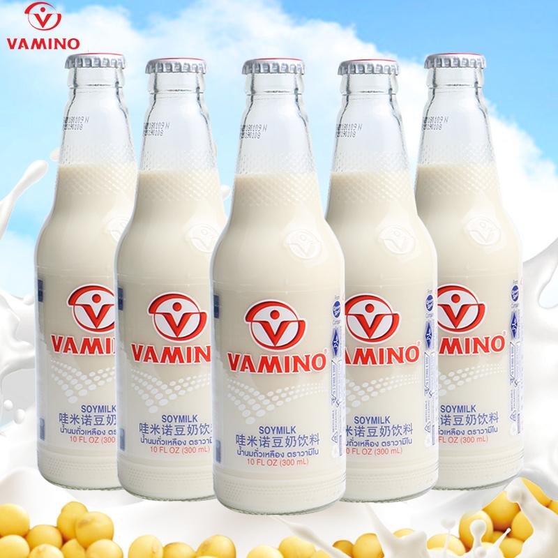 泰国进口豆奶Vamino哇米诺 原味豆奶营养早餐奶300ml*5瓶组合饮料