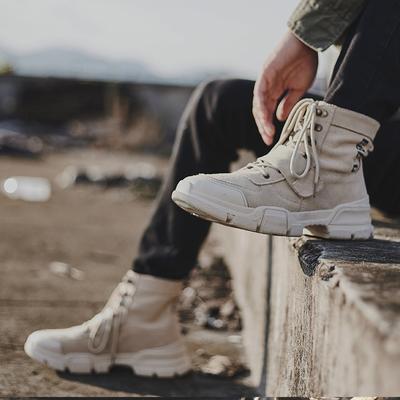 马丁靴男秋季2019新款韩版潮流百搭英伦中高帮沙漠工装军鞋潮短靴