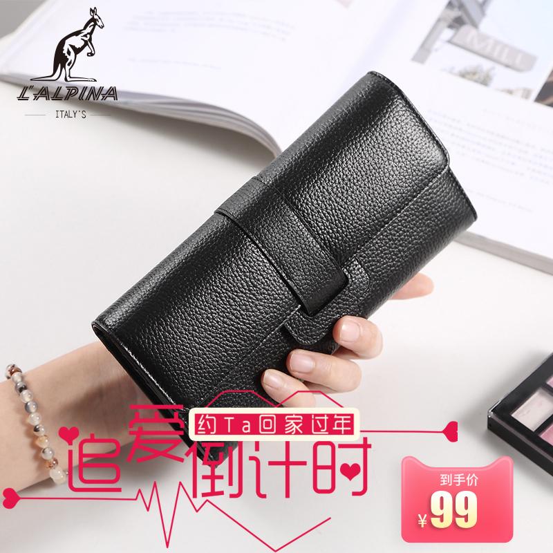 新款2018袋鼠女钱包正品真皮长款多功能迷你女小零钱包多卡位折叠