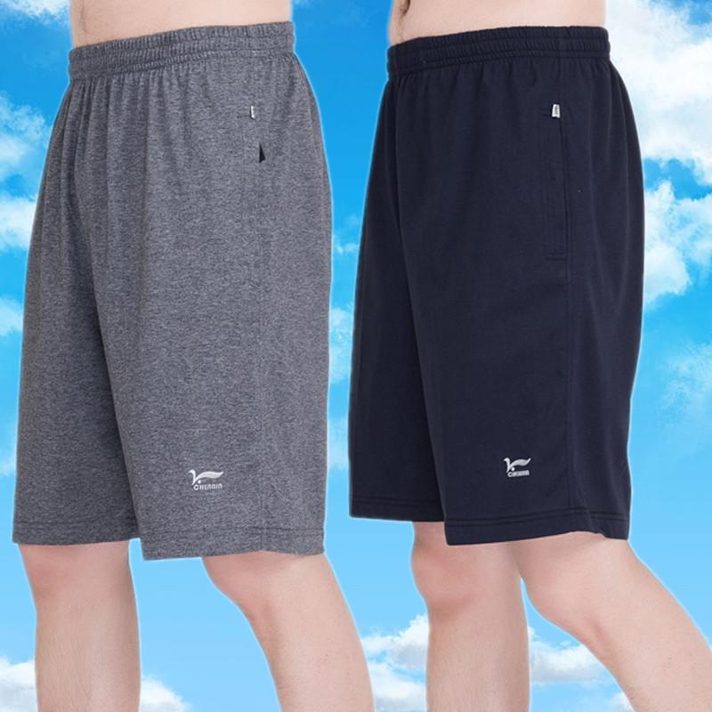 夏天中年纯棉短裤男五分裤外穿加肥加大码中老年人爸爸宽松运动裤