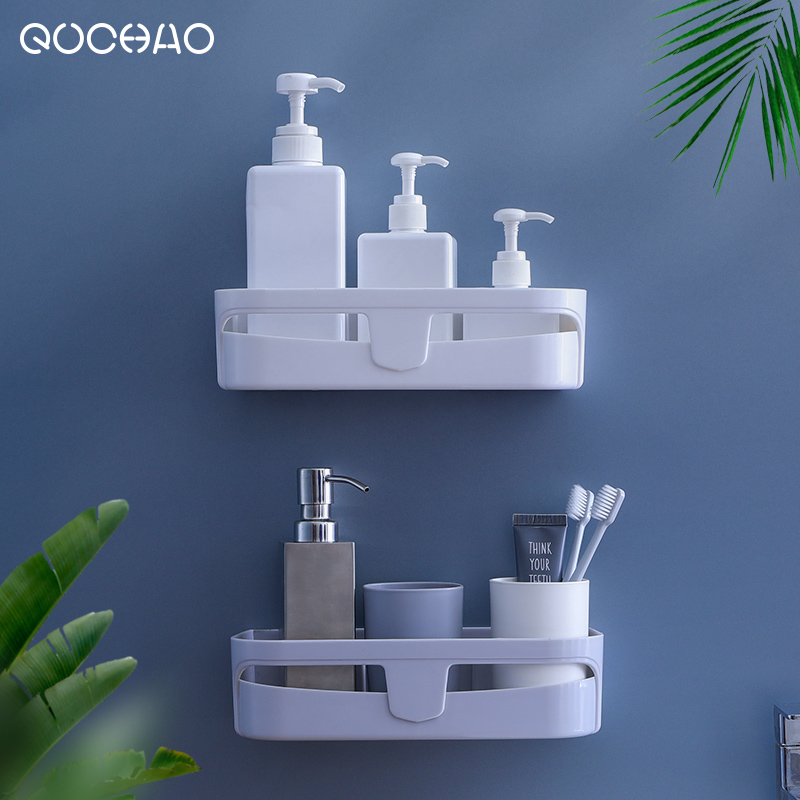 浴室置物架厕所洗手间洗漱台三角厨房收纳吸壁式免打孔壁挂卫生间