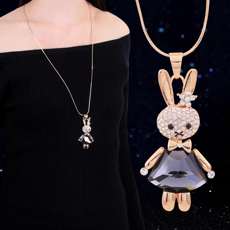 韩国小兔子毛衣链女秋冬配毛衣的项链挂件衣服配饰珍珠挂饰吊坠