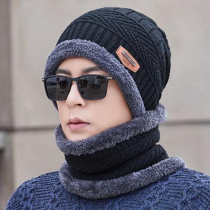 帽子男冬天防寒毛线帽加绒围脖针织秋冬季棉帽保暖潮骑车冬季男士